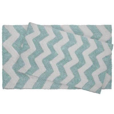 Reversible Cotton Soft Zigzag Aquatic Blue 2-Piece Bath Mat Set