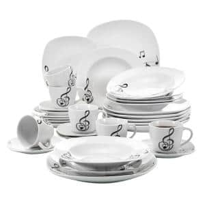 30-Piece White Pattern Porcelain Dinnerware Set Dinner Plates Cup and Saucer Set (Service for 6)