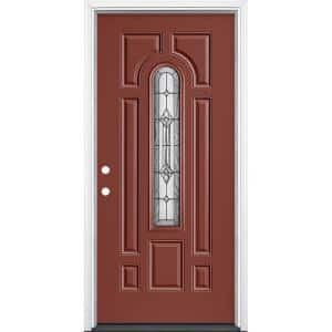 36 in. x 80 in. Providence Center Arch Right-Hand Inswing Painted Steel Prehung Front Exterior Door with Brickmold
