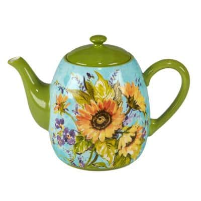 Sun Garden 4.5-Cup Multicolored Earthenware Teapot