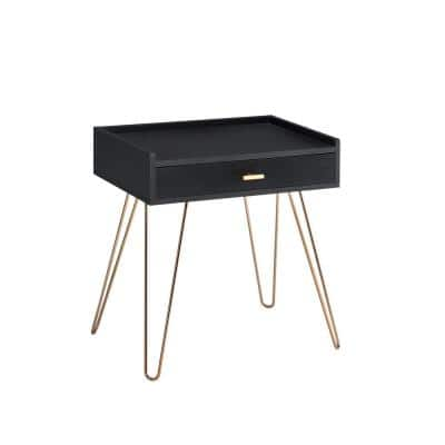 15.25 x 23.5 in. Black Round Wood Allen Mid-Century Rectangle Accent Table with Copper Hairpin Legs
