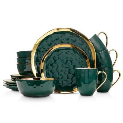 16-Piece Dishes for 4-Gold and Green Florian Modern Porcelain Dish Set