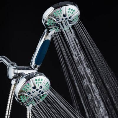 Antimicrobial 48-Spray 4.3 in. High Pressure 3-Way Dual Shower Head and Handheld Shower Head Combo in Chrome
