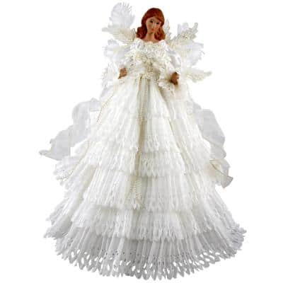 16 in. White Lace Angel Tree Topper