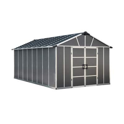 Yukon 11 ft. x 17 ft. Dark Gray Large Garden Outdoor Storage Shed