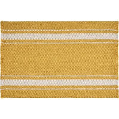 Sunny Day 19 in. x 13 in. Yellow Striped Fringed Cotton Placemat (Set of 4)