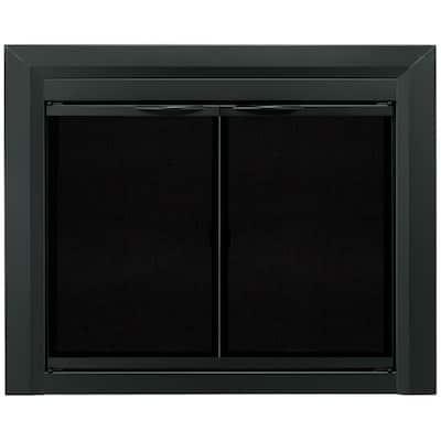 Carlisle Large Black Cabinet Style Glass Fireplace Doors
