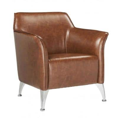 Amelia Brown Pu Upholstery Metal Leg Accent Chair
