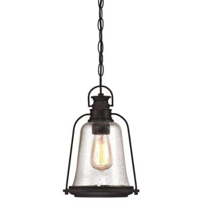 Brynn 1-Light Oil Rubbed Bronze with Highlights Outdoor Hanging Pendant