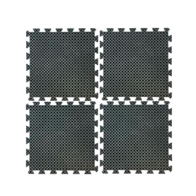 19.7 in. Square Anti-Fatigue Interlocking Rubber Mat Set (4-Piece)