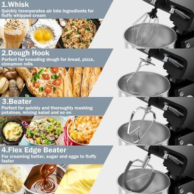 800W 7 qt. . 6-Speed Black Stainless Steel Multi-Functional Stand Mixer Meat Grinder Sausage Stuffer Juice Blender