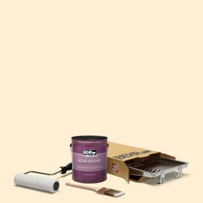 1 gal. #YL-W03 Honied White Extra Durable Eggshell Enamel Interior Paint and 5-Piece Wooster Set All-in-One Project Kit