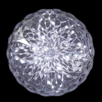 20-Light LED Clear Hanging Crystal Sphere Ball Outdoor Christmas Decoration