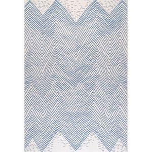 Wavy Geometric Blue 8 ft. x 11 ft. Indoor/Outdoor Area Rug