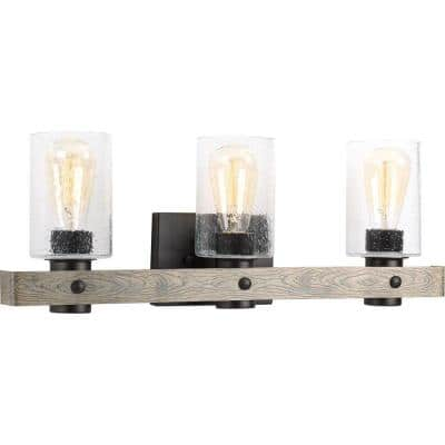 Gulliver Collection 3-Light Graphite Clear Seeded Glass Coastal Bath Vanity Light