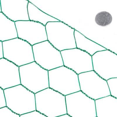 3 ft. x 150 ft. 16-Gauge Green PVC Coated Poultry Netting with 1.5 in. Mesh