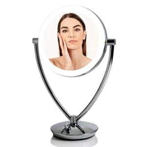 14.3 in. x 5.25 in. Modern Round Framed LED Lighted Tabletop Vanity Mirror with Acrylic Edge and 1x 5x Magnifications