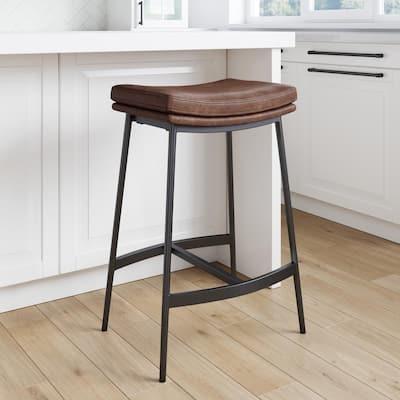 Arlo 27 in. Brown/Matte Black Modern Backless Kitchen Counter Bar Stool Metal Frame with Saddle Seat
