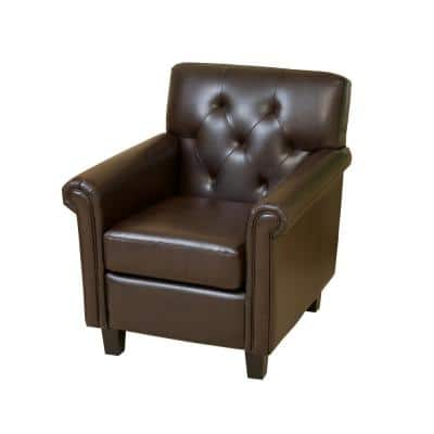 Veronica Brown Leather Tufted Club Chair