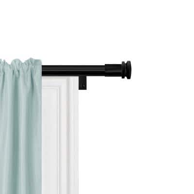 48 in. - 120 in. Single Curtain Rod in Black with Cap Finial