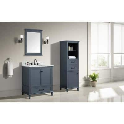 Merryfield 31 in. W x 22 in. D Bath Vanity in Dark Blue-Gray with Marble Vanity Top in Carrara White with White Basin