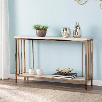 Rippert 48 in. Champagne/White Rectangle Stone Console Table with Storage