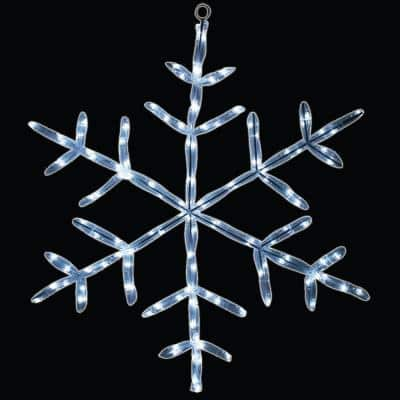 18 in. 90-Light Pure White LED Tube Light Snowflake