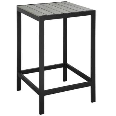 Maine Patio Aluminum Bar Height Outdoor Dining Table in Brown Gray