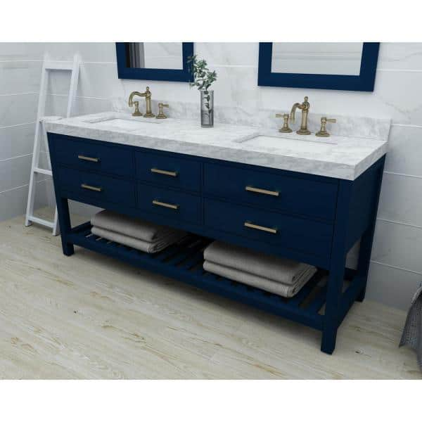 Ancerre Designs 72 In W X 22 In D Bath Vanity In Heritage Blue W Marble Vanity Top In White W White Basin And Gold Hardware Vts Elizabeth 72 Hb Cw Gd The Home Depot