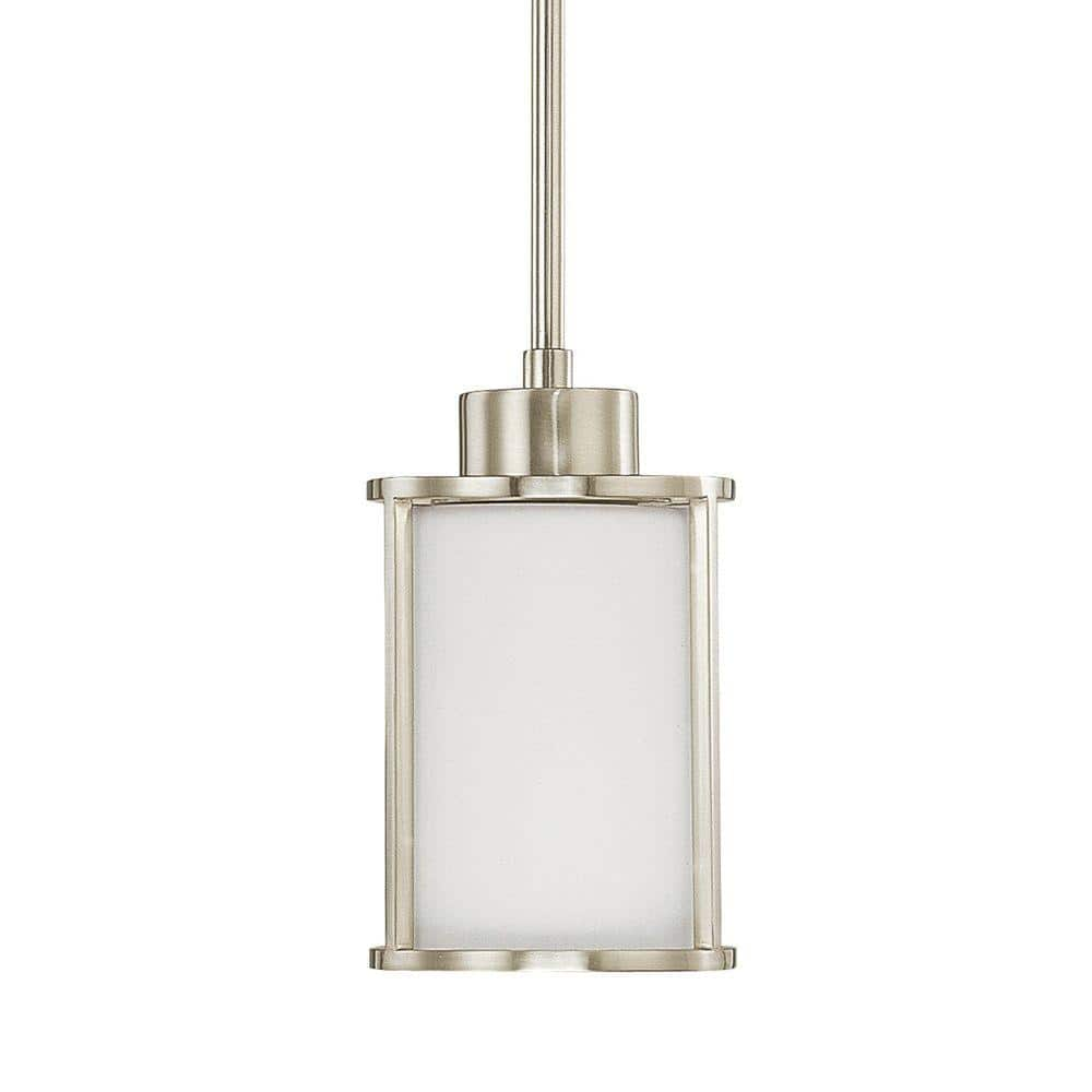 Home Decorators Collection Poplar 1 Light Brushed Nickel Mini Pendant With White Glass Shade 7429p 71 The Home Depot