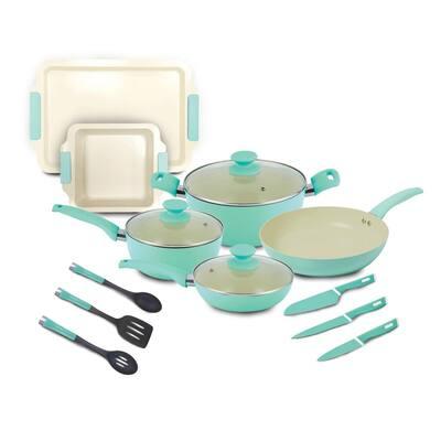 Crema Collection 15-Piece Aluminum Nonstick Cookware Set in Green