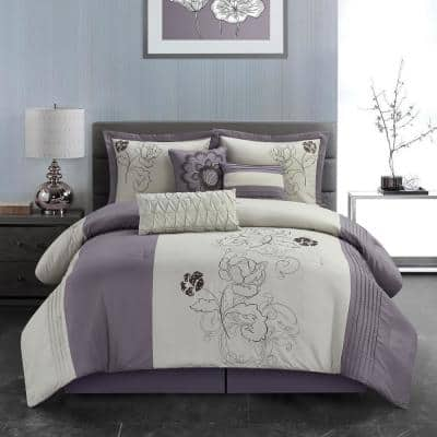 7-Piece Purple and Beige Patchwork Polyester King Comforter Set Luxury Bed in a Bag