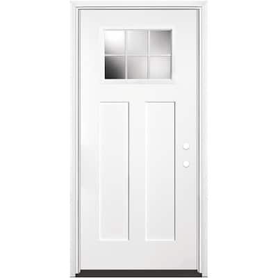 36 in. x 80 in. Craftsman 6 Lite Left Hand Inswing Primed White Smooth Fiberglass Prehung Front Door w/ Brickmold