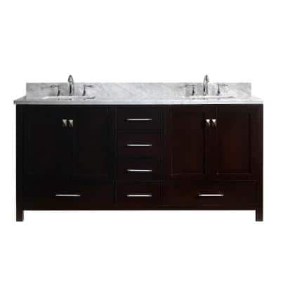 Caroline Avenue 72 in. W Bath Vanity in Espresso with Marble Vanity Top in White with Square Basin