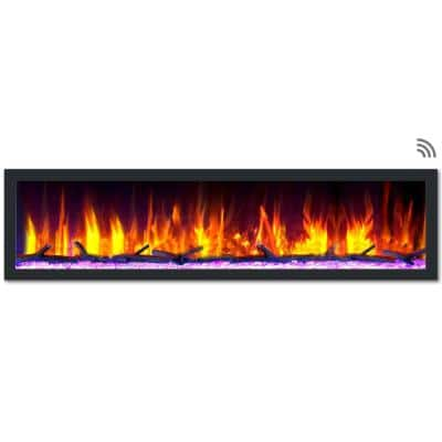 74 in. Cascade Flush-Mount LED Electric Fireplace in Black