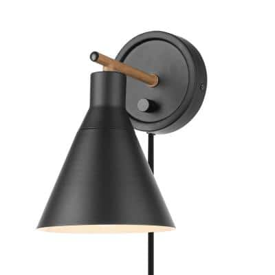 Tristan 4.8 in. Matte Black Plug-In or Hardwire Sconce with Faux Walnut Accent, Black Fabric Cord