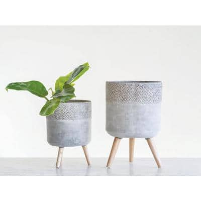 12.75 in. and 16.5 in. H Grey Cement Planters with Wood Legs (2-Pack)