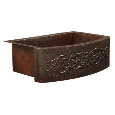 Donatello Farmhouse Apron Front Copper Sink 25 in. Single Bowl Kitchen Sink Bow Front Scroll Design