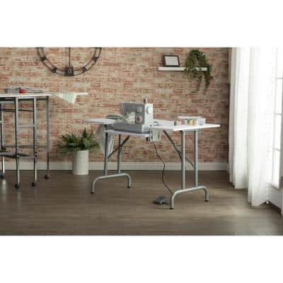 Folding Multipurpose 47.5 in.W x 28 in. D PB Craft Sewing Table with 22 in. W Drop-Down Platform, White