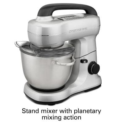 4 Qt. 7-Speed Stainless Steel Stand Mixer with Flat Beater, Dough Hook and Whisk