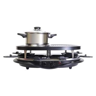 40oz Black, 2-in-1 Raclette Grill and Fondue Set