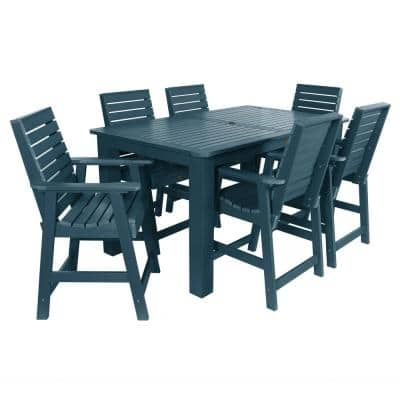 Weatherly Nantucket Blue 7-Piece Recycled Plastic Rectangular Outdoor Balcony Height Dining Set
