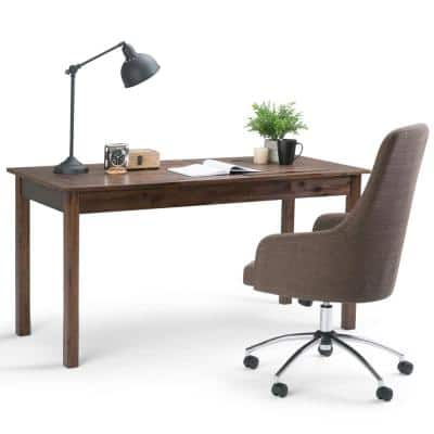 Monroe 60 in. Rectangular Distressed Charcoal Brown Writing Desk with USB Port