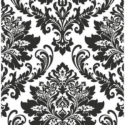 Black And White Damask Vinyl Peel & Stick Wallpaper Roll (Covers 30.75 Sq. Ft.)
