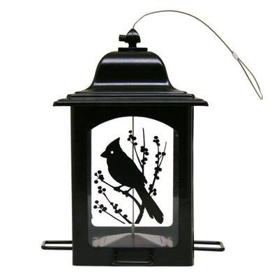 Bird and Berries Black Lantern Hanging Bird Feeder - 3 lb. Capacity