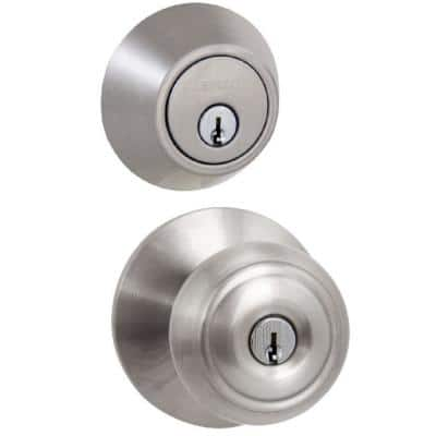 Hartford Satin Nickel Entry Knob and Double Cylinder Deadbolt Combo Pack