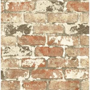 Washed Red Brick Vinyl Peel & Stick Wallpaper Roll (Covers 30.75 Sq. Ft.)