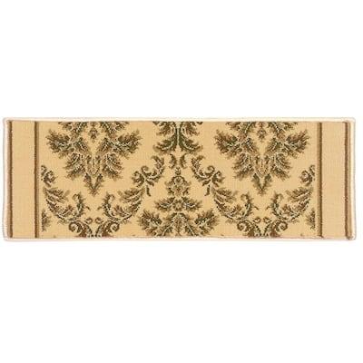 Kurdamir Damask Ivory 9 in. x 33 in. Stair Tread Cover