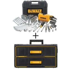 1/4 in. x 3/8 in. Drive Polished Chrome Mechanics Tool Set (142-Piece) with Bonus TOUGHSYSTEM 22 in. 2-Drawer Tool Box