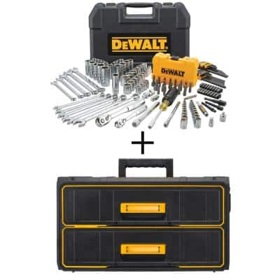 DEWALT 1/4-in x 3/8-in Drive Polished Chrome Mechanics Tool Set (142-Piece) w/ Bonus TOUGHSYSTEM 22-in 2-Drawer Tool Box